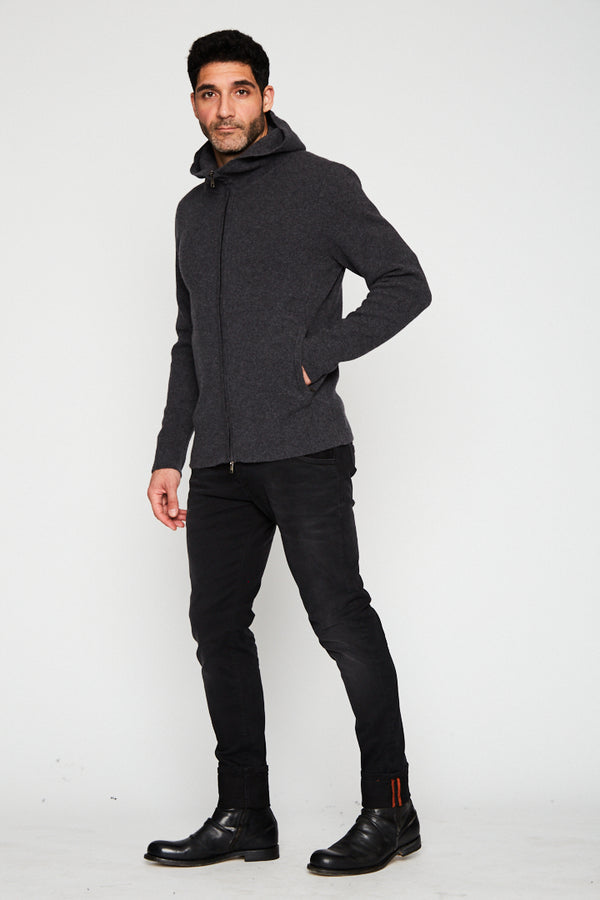 CHARCOA CASHMERE PULLOVER HOODIE WITH ZIPPER-Ari Soho