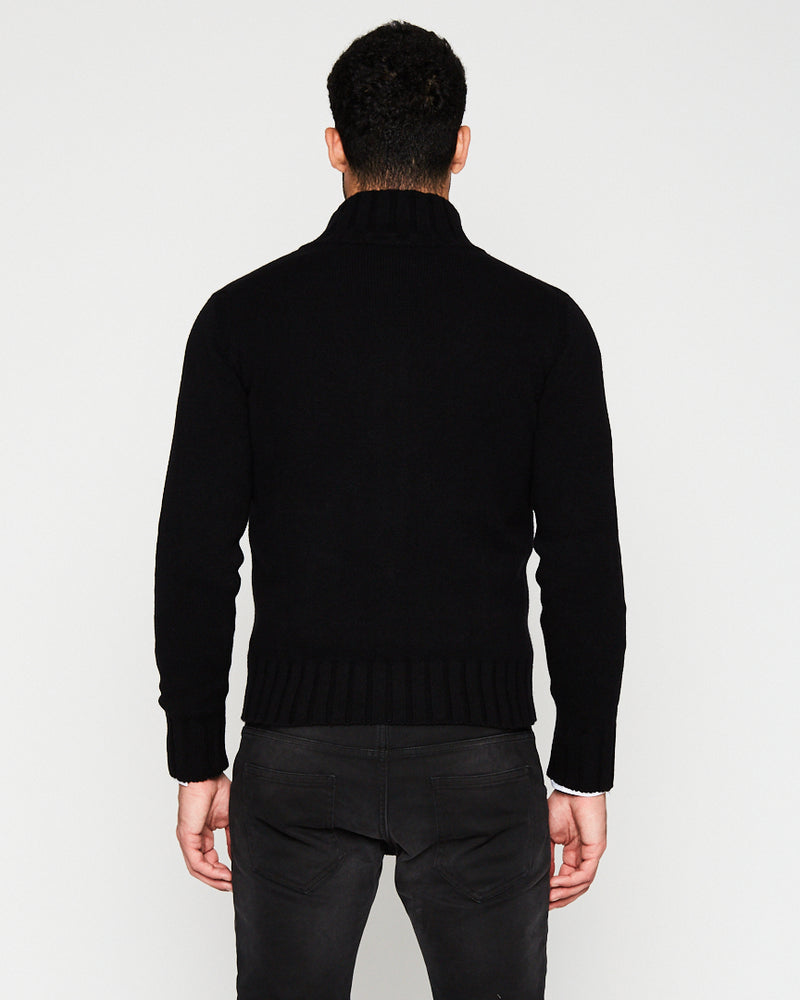 BLACK CASHMERE LONG NECK WITH ZIPPER-Ari Soho