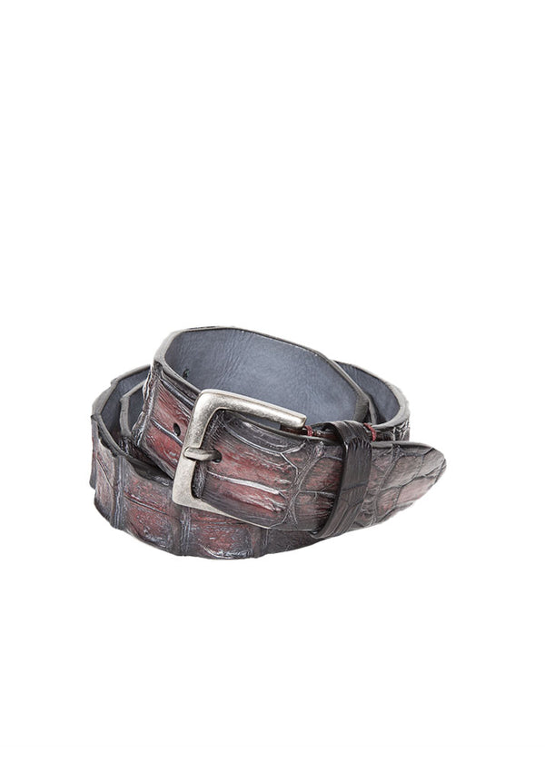 Red Crocodile Leather Belt-Ari Soho