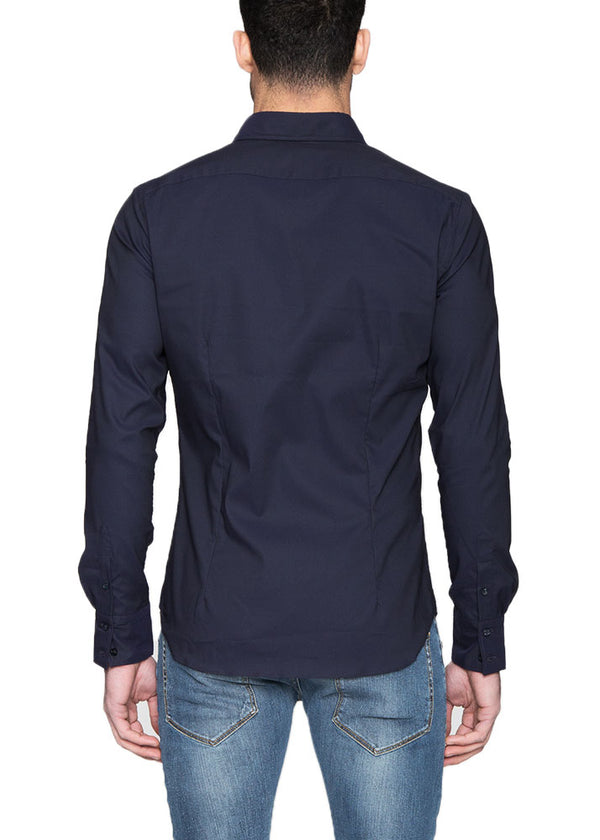 Dress Shirt With Pockets in Navy-Ari Soho