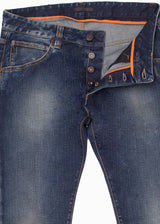 Dark Blue Faded Denim Jeans-Ari Soho