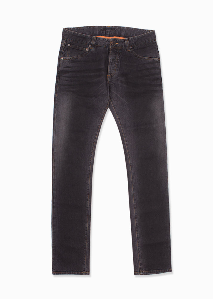 Black Faded Resin Whiskered Jeans-Ari Soho