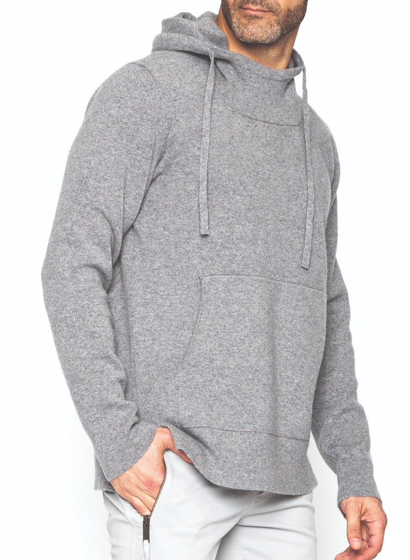 CASHMERE SWEATER HOODIE IN LIGHT GREY-Ari Soho