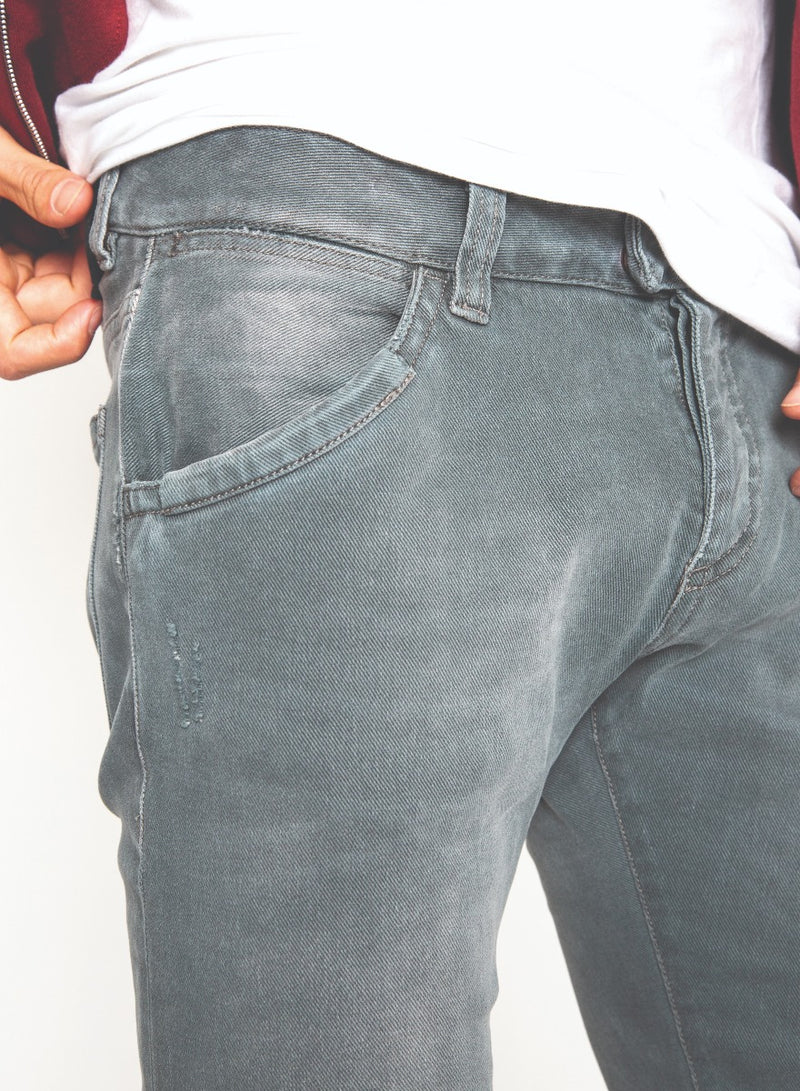 Gray Moto Faded Denim Jeans-Ari Soho