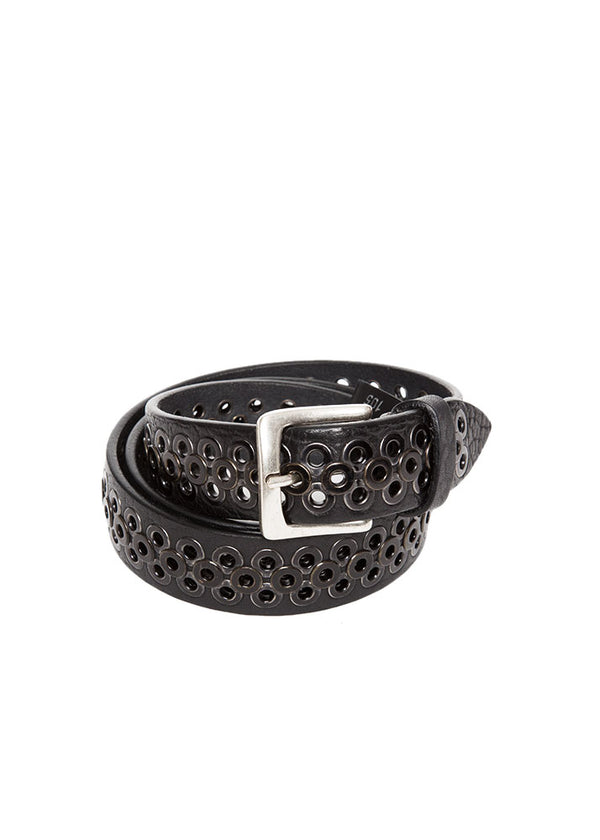 Black Riveted Leather Belt-Ari Soho