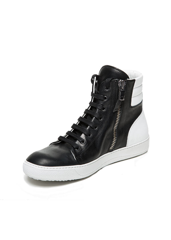 Black and White Two Tone Leather High Top Sneakers-Ari Soho
