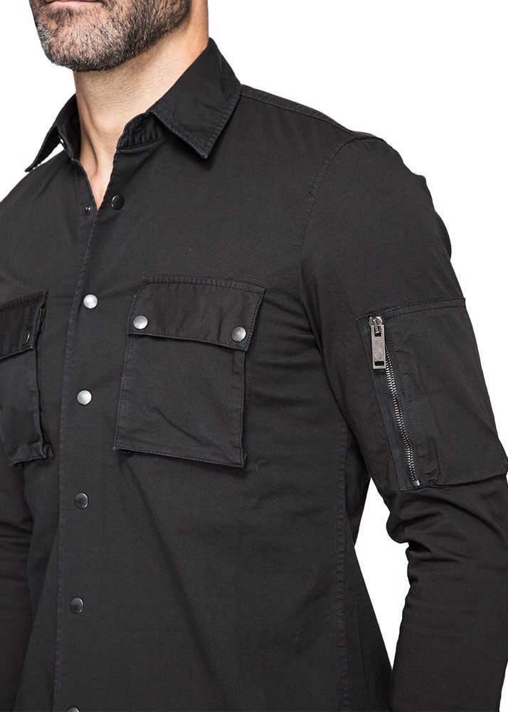 Cargo Military Shirt in Black-Ari Soho