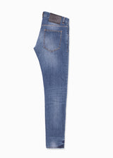 Blue Moto Faded Denim Jeans-Ari Soho