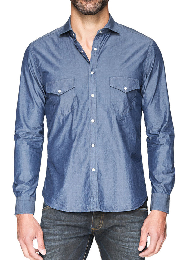Blue Button Down with Snaps-Ari Soho