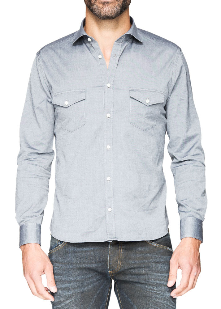 Silver Grey Button Down-Ari Soho