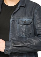 Kelso Leather Jacket in Blue-Ari Soho