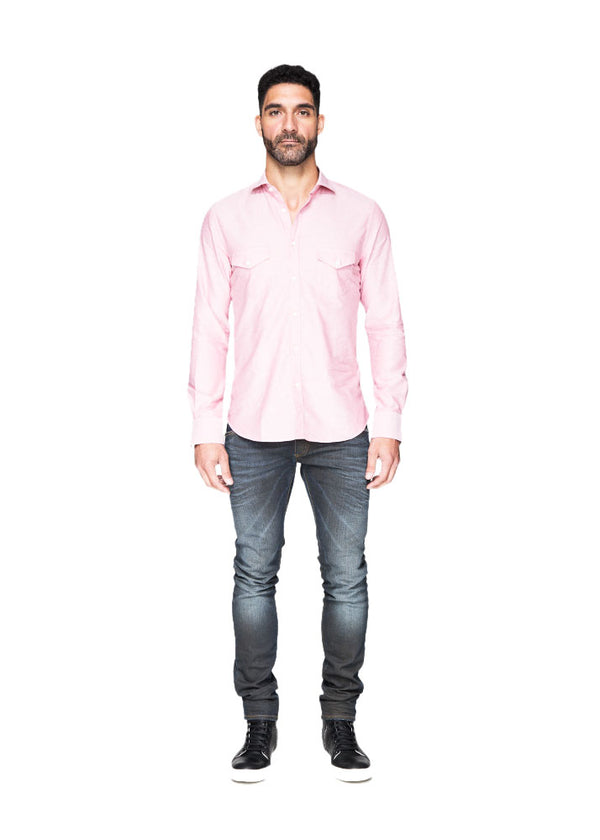 Salmon Button Down With Pockets-Ari Soho