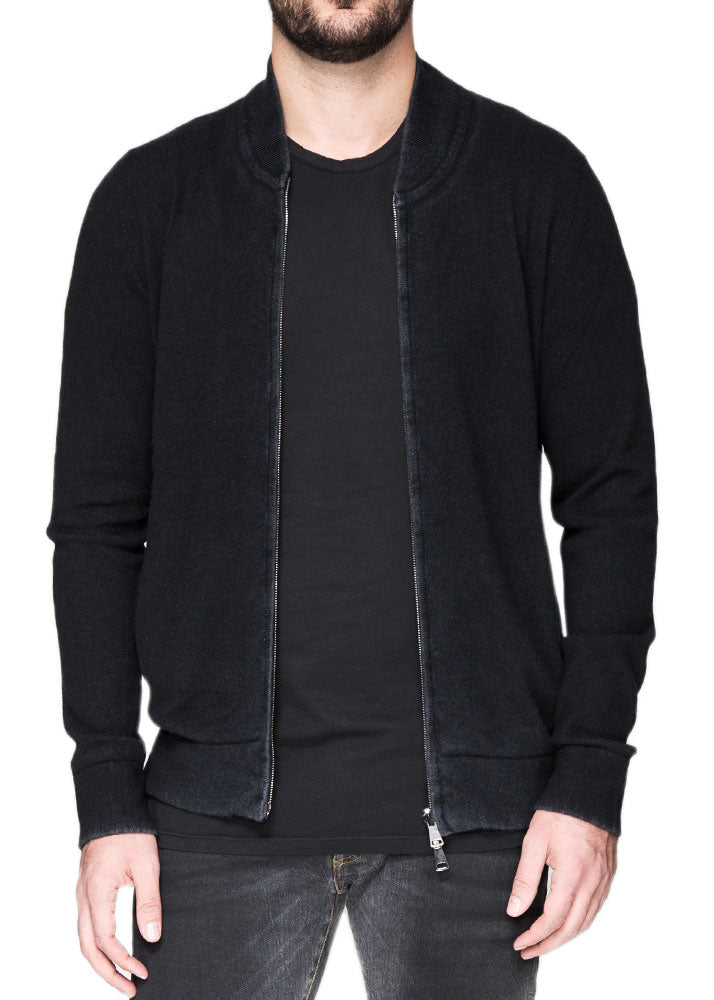 Reversible Cashmere Bomber in Black-Ari Soho
