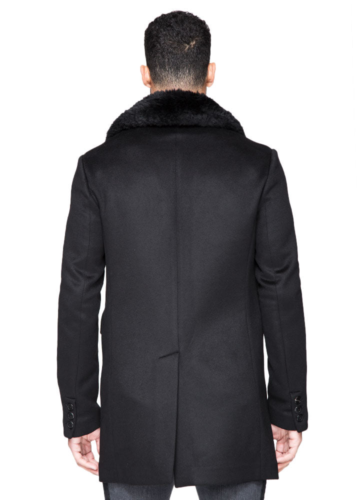 Single Breasted Cashmere Coat with Fur Collar-Ari Soho