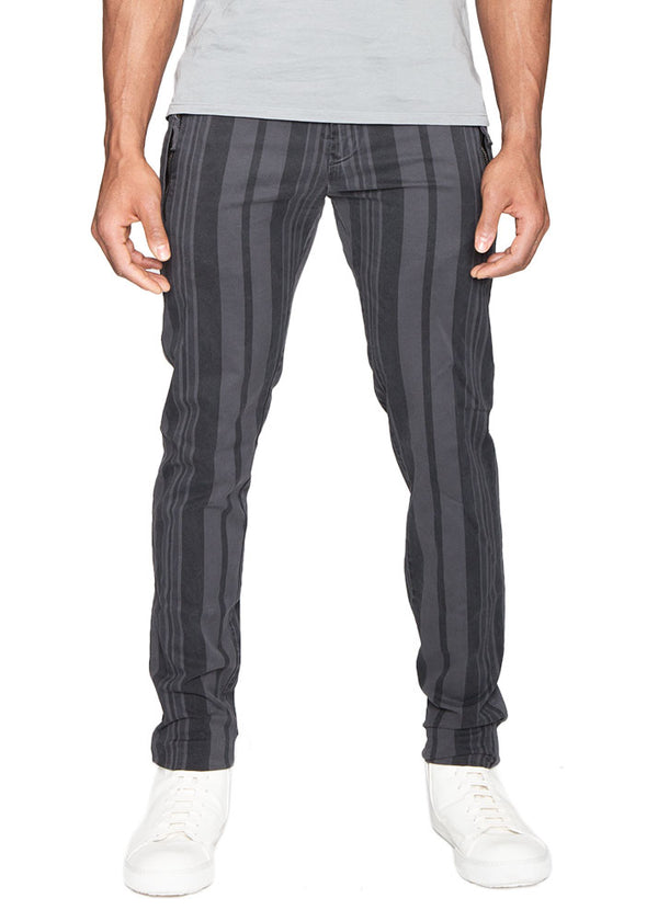 Cotton Stretch Striped Drawstring Trousers-Ari Soho