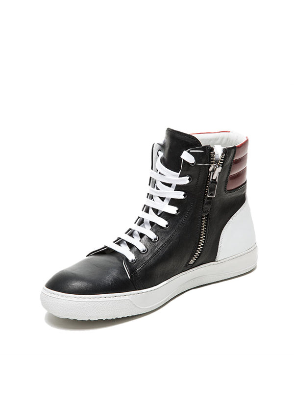 Black and Red Two Tone Leather High Top Sneakers-Ari Soho
