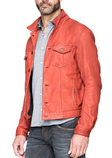 Kelso Leather Jacket in Red-Ari Soho