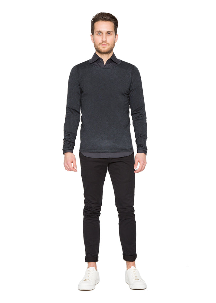 Silk Cashmere Crew Neck in Black-Ari Soho