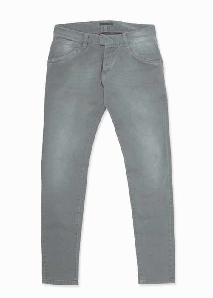 Gray Moto Faded Denim Jeans