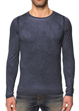 Charcoal Blue Scoop Neck Silk Cashmere Pullover-Ari Soho