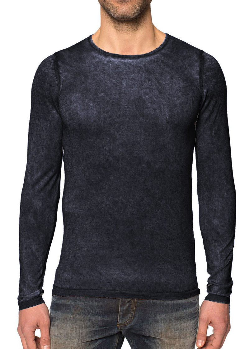 Silk Cashmere Crew Neck in Jet Blue-Ari Soho