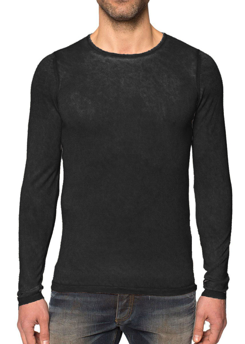 Black Scoop Neck Silk Cashmere Pullover-Ari Soho