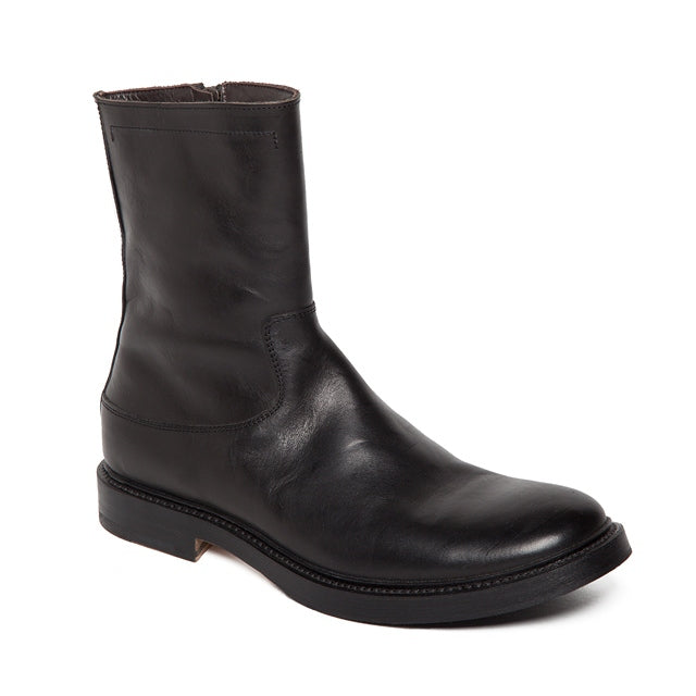 City Leather Zip Boots in Black-Ari Soho