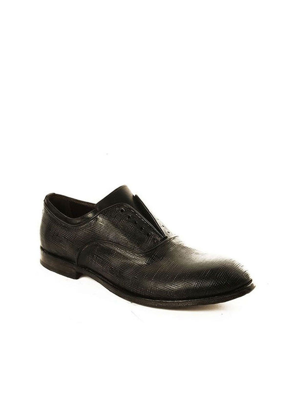 Black Leather Grid Texture Laceless Shoe-Ari Soho