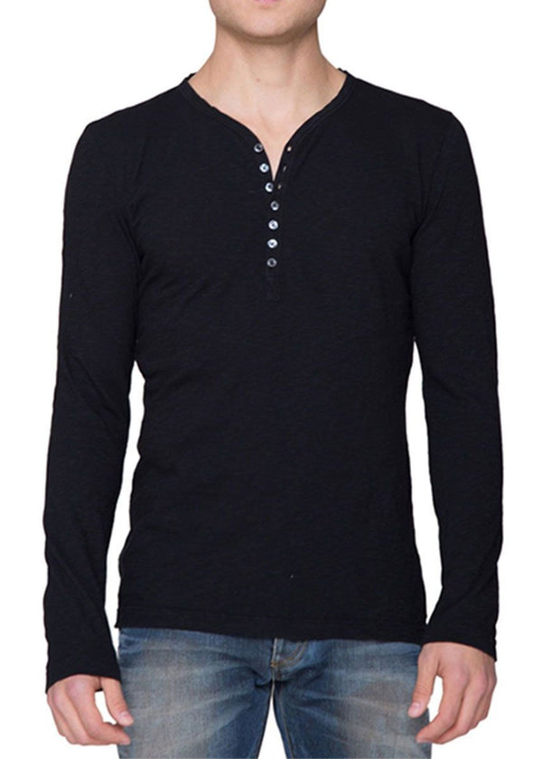 Cotton Henley Long Sleeve