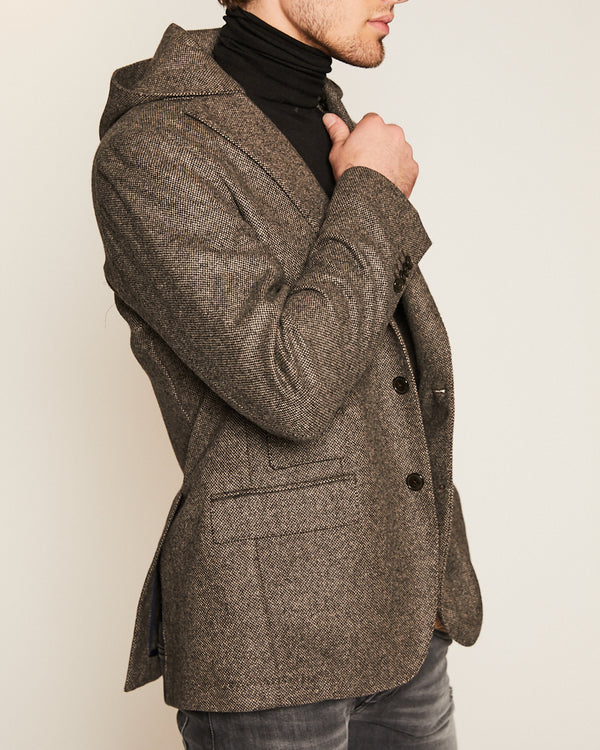 Brown Cashmere Blazer with Removal Hoodie-Ari Soho