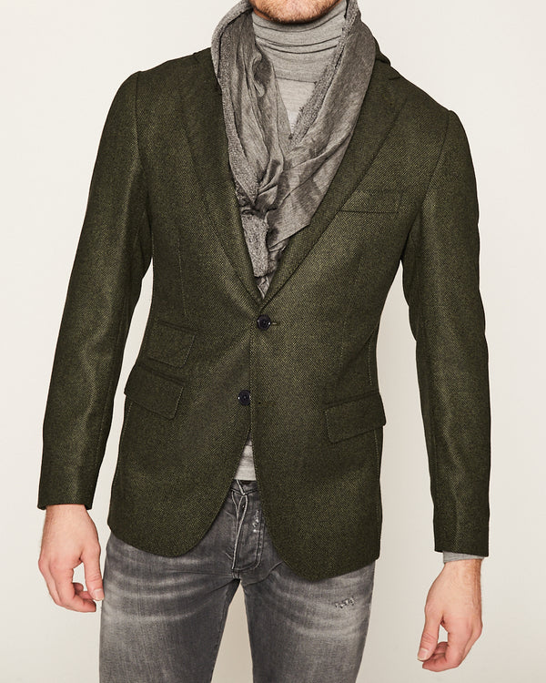 Green Cashmere Blazer with Removal Hoodie-Ari Soho