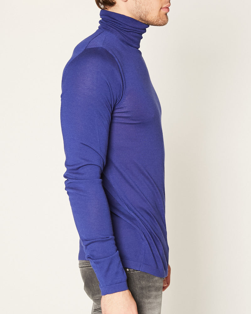 ROYAL BLUE TURTLENECK LIGHT CASHMERE-Ari Soho