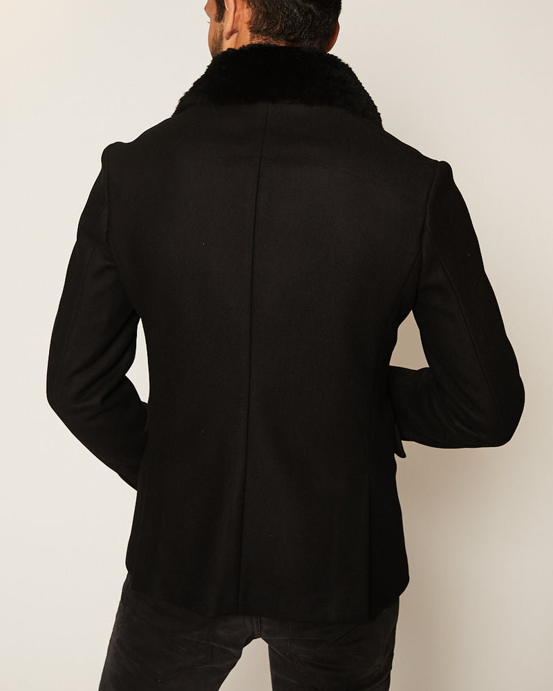 Black Short Wool Coat w- Removable fur-Ari Soho