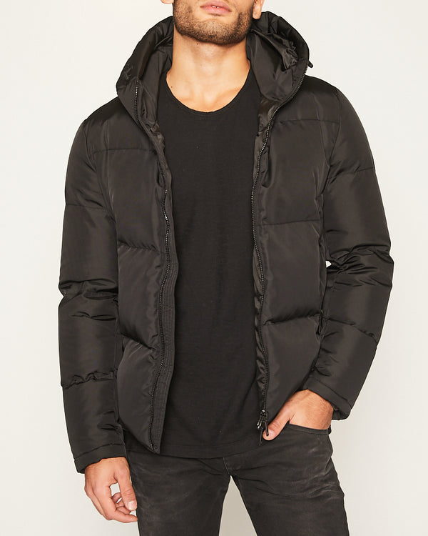 Black Down Coat with Hoodie-Ari Soho