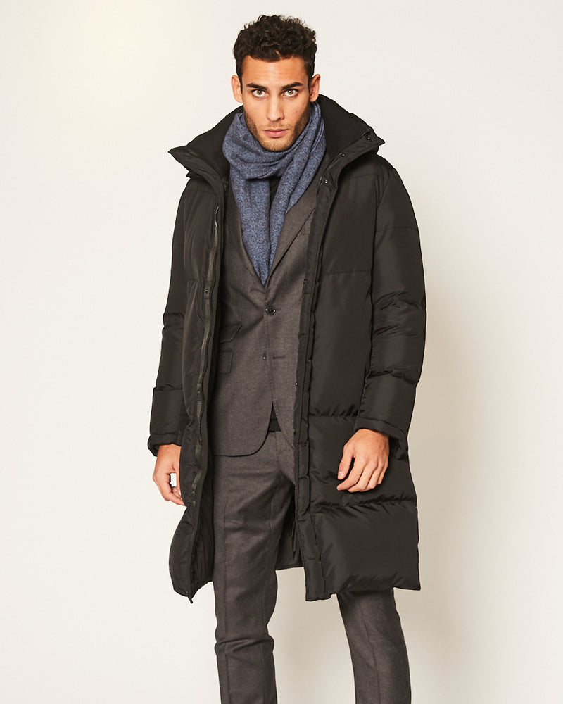 BLACK PUFFER JACKET WITH HOODIE-Ari Soho