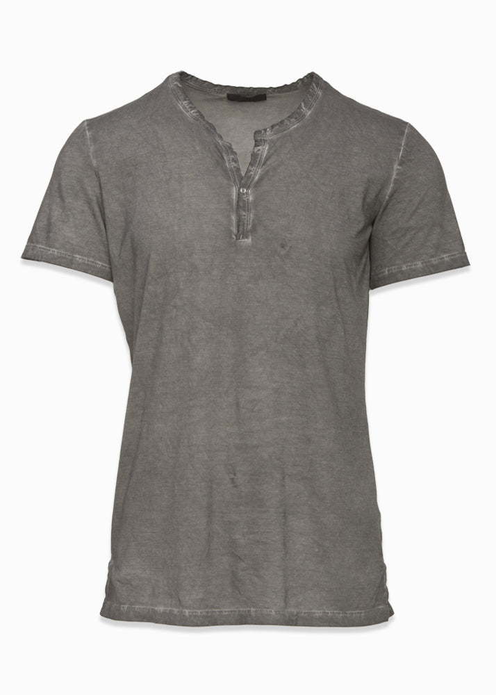 Cotton Stretch Henley T-Shirt-Ari Soho