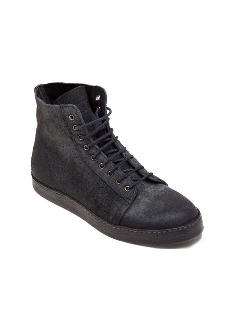 Black Washed High-Top Leather Boots-Ari Soho