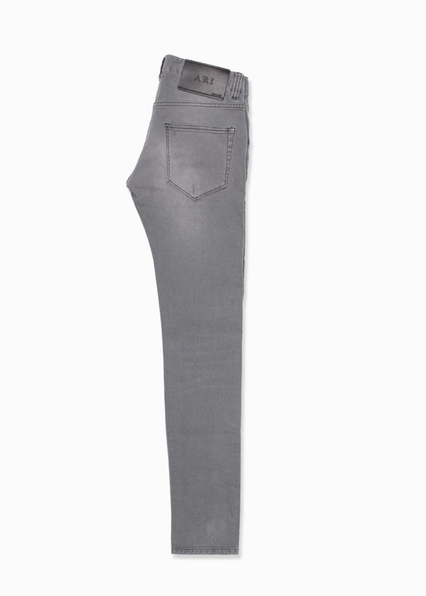 Light Gray Faded Denim Jeans-Ari Soho