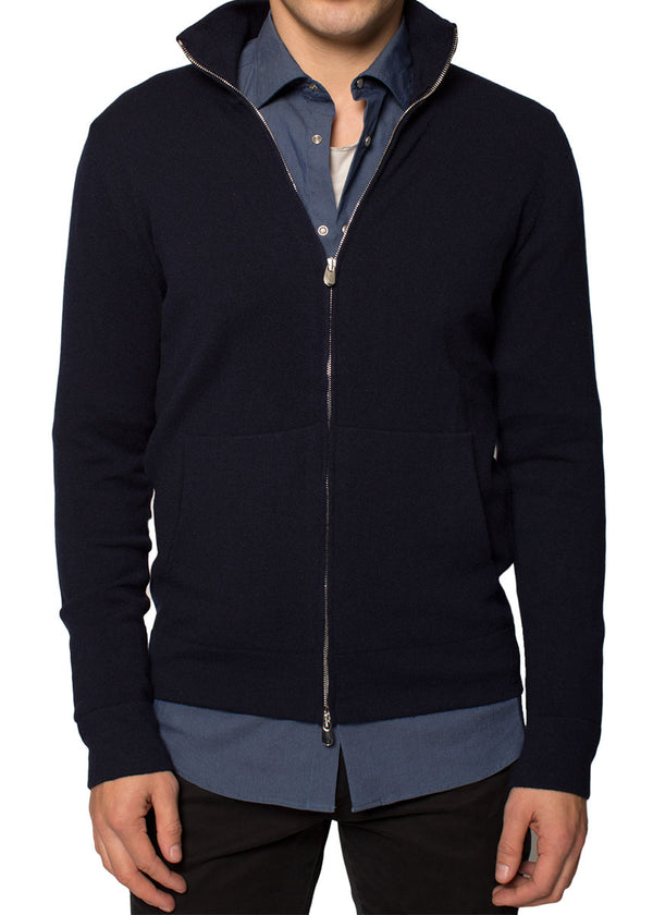 Cashmere Zip-Up Hoodie in Navy-Ari Soho