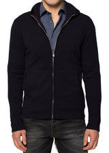 Cashmere Zip-Up Hoodie in Black-Ari Soho