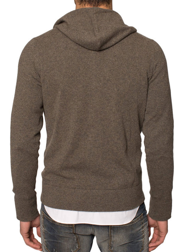 Cashmere Zip-Up Hoodie in Taupe-Ari Soho
