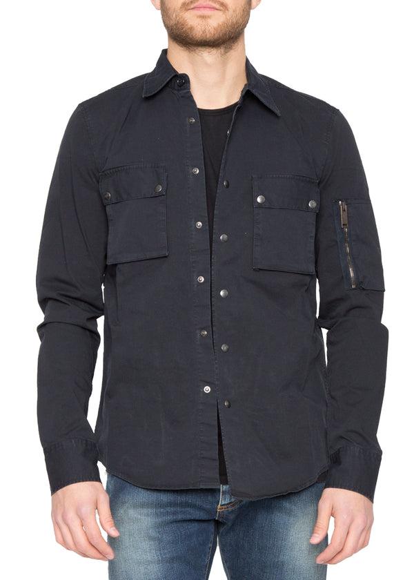 Cargo Military Shirt in Navy-Ari Soho