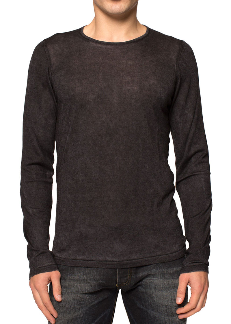 Cashmere Silk Light Weight Crewneck Sweater in Charcoal-Ari Soho