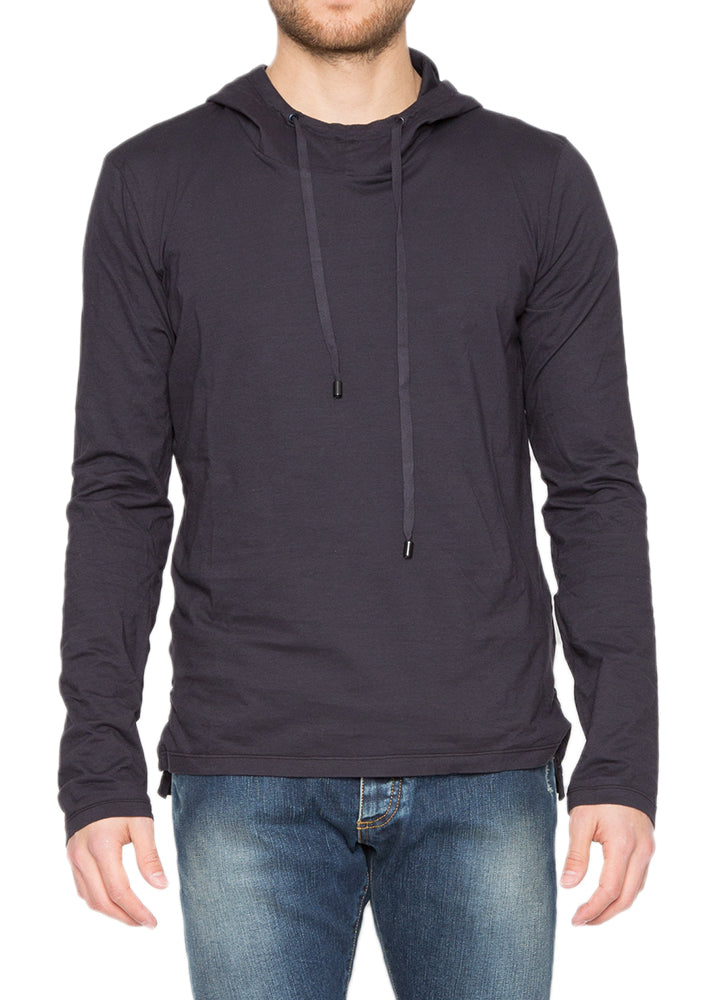 Drawstring Hoodie in Blue-Black-Ari Soho