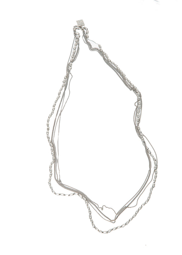 Goti Fox Silver Multi-Chain Necklace-Ari Soho