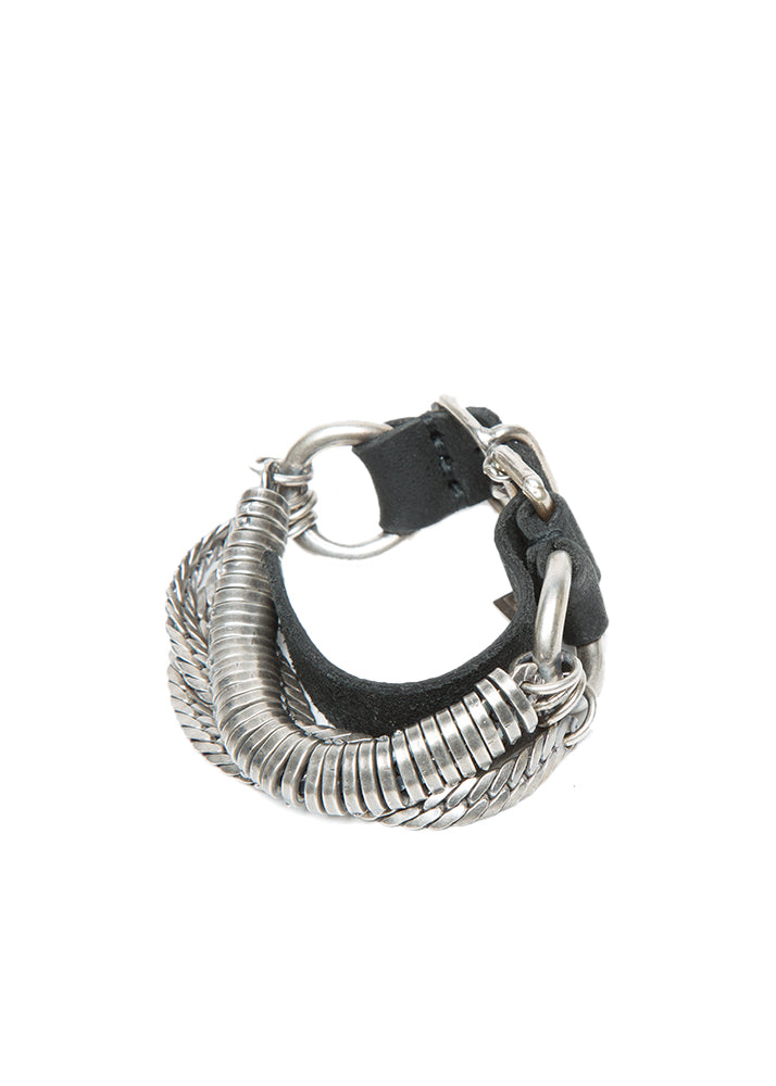 Goti Onyx Silver & Leather Bracelet-Ari Soho