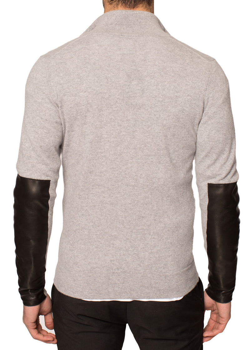 Cashmere Zip-Up Sweater With Leather Patch In Grey-Ari Soho