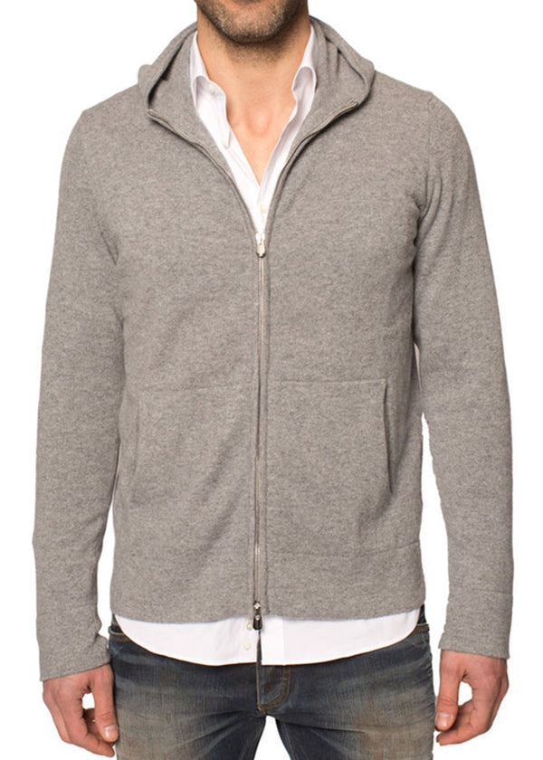 Cashmere Zip-Up Hoodie in Grey-Ari Soho