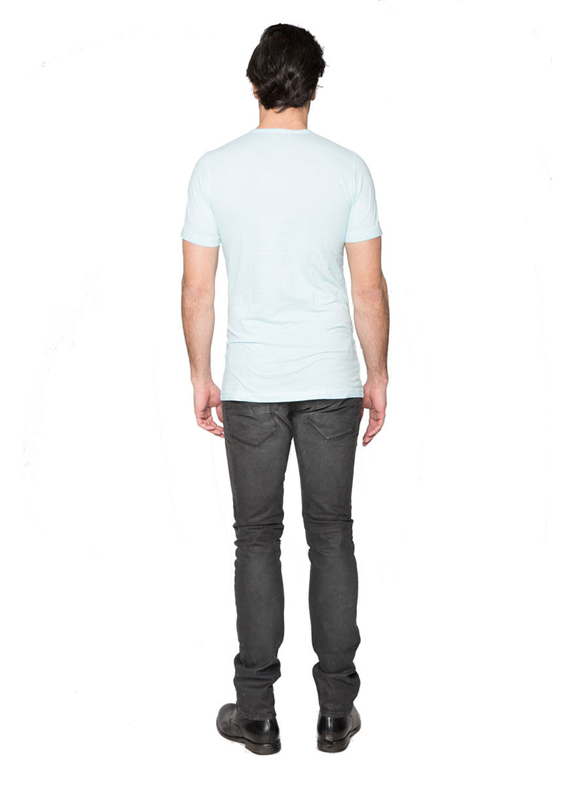 Light Blue Cotton Henley T-Shirt-Ari Soho