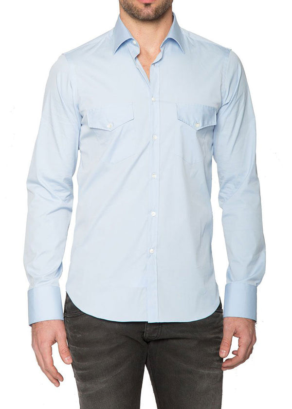 Stretch Pocket Button Down in Light Blue-Ari Soho